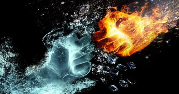 Four elements in a relationship: Fire and Earth are a stable combination, Water and Air are not the perfect togheter